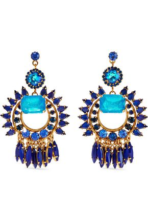 ELIZABETH COLE Simcha 24-karat gold-plated, stone and Swarovski crystal earrings