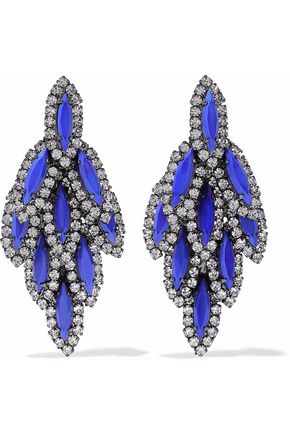 ELIZABETH COLE Bacall gunmetal-tone, stone and Swarovski crystal earrings