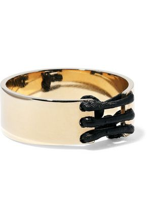 ARME DE L'AMOUR Gold-plated leather-trimmed ring