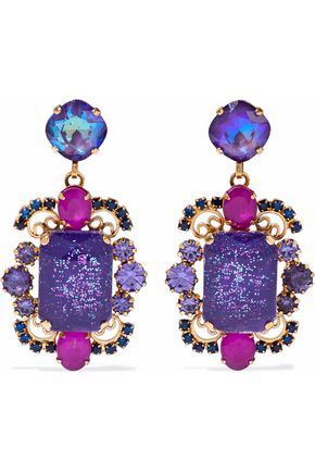 ELIZABETH COLE 24-karat gold-plated stone and crystal earrings