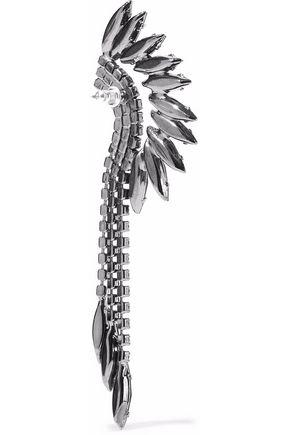 ELIZABETH COLE Gunmetal-tone crystal earrings