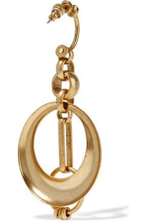 ELIZABETH COLE Burnished gold-tone earrings