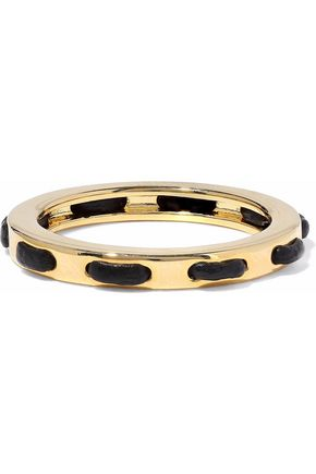 ARME DE L'AMOUR Gold-tone leather-trimmed ring