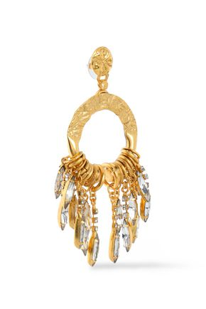 ELIZABETH COLE Cadence hammered gold-plated crystal earrings