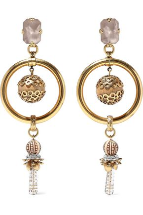 ELIZABETH COLE 24-karat gold-plated, crystal and bead earrings