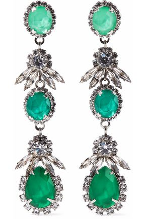 ELIZABETH COLE Silver-tone crystal earrings