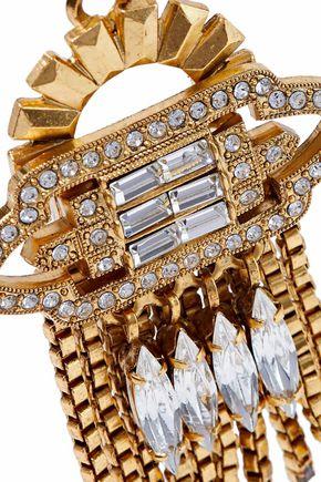 ELIZABETH COLE Velma 24-karat gold-plated Swarovski crystal earrings