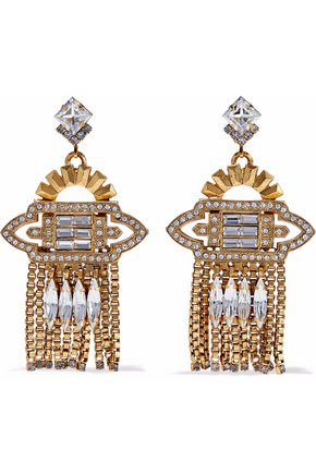 ELIZABETH COLE Velma 24-karat gold-plated Swarovski crystal earrings