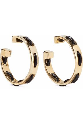 ARME DE L'AMOUR Gold-tone leather-trimmed hoop earrings