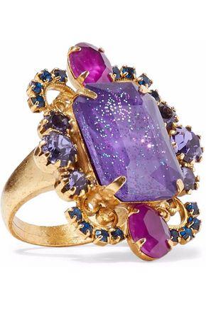 ELIZABETH COLE Kennedy gold-tone crystal ring