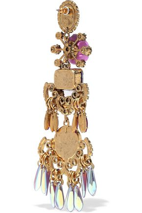 ELIZABETH COLE Gold-tone, crystal, resin and bead earrings