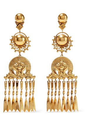 ELIZABETH COLE Burnished 24-karat gold-plated earrings