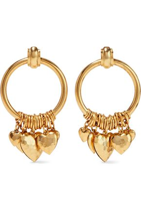 ELIZABETH COLE Burnished gold-tone hoop earrings