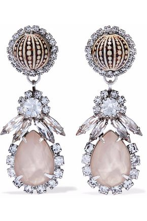 ELIZABETH COLE Silver-tone, stone and crystal earrings