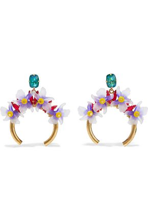 ELIZABETH COLE Bliss burnished 24-karat gold-plated, resin and stone hoop earrings