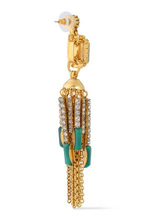 ELIZABETH COLE Sutton 24-karat gold-plated, stone and crystal earrings