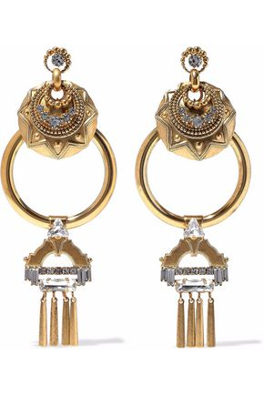 ELIZABETH COLE Kimona burnished 24-karat gold-plated crystal hoop earrings