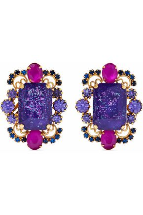 ELIZABETH COLE Garner 24-karat gold-plated, stone and crystal clip earrings