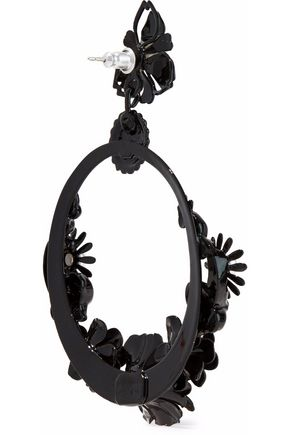 ELIZABETH COLE Pearson resin and faux pearl hoop earrings