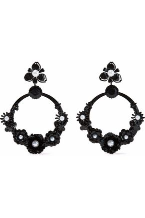 ELIZABETH COLE Pearson resin and faux pearl hoop earrings
