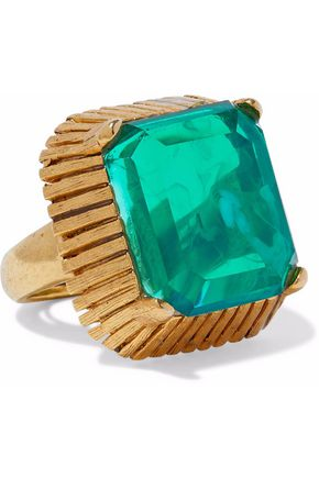 ELIZABETH COLE Wren 24-karat gold-plated stone ring
