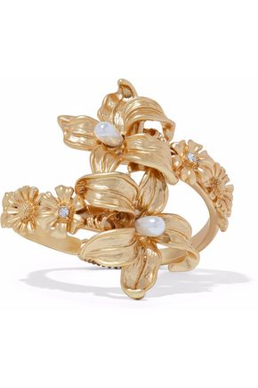 KENNETH JAY LANE Gold-tone, faux pearl and crystal cuff