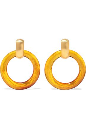KENNETH JAY LANE Gold-tone resin hoop clip earrings