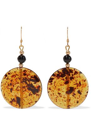KENNETH JAY LANE Gold-tone, bead and resin earrings