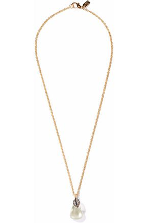 KENNETH JAY LANE Gold-tone, resin and crystal necklace