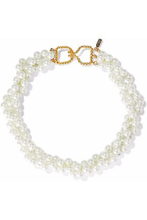 KENNETH JAY LANE Gold-tone faux pearl choker