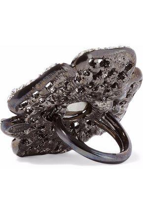 KENNETH JAY LANE Gunmetal-tone crystal ring