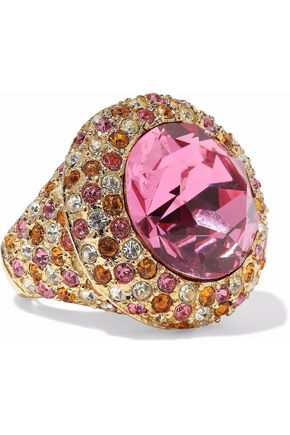 KENNETH JAY LANE Gold-tone crystal ring