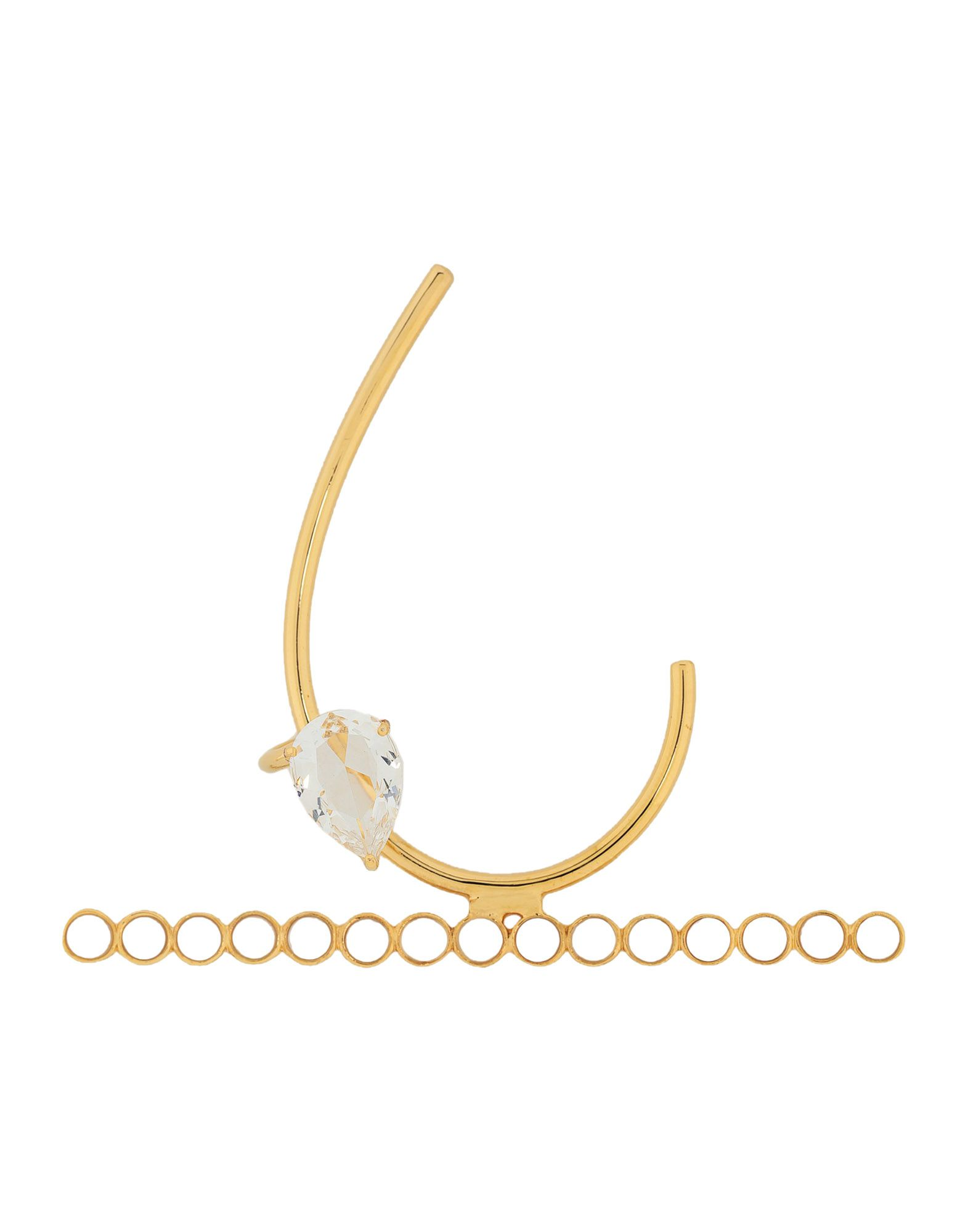 《期間限定 セール開催中》EK THONGPRASERT レディース ピアス&イヤリング ゴールド 真鍮/ブラス / スワロフスキー / ガラス Brass Ear Cuff With Semi Precious Stones & Glass