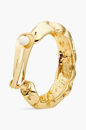 KENNETH JAY LANE Hammered gold-tone hoop earrings