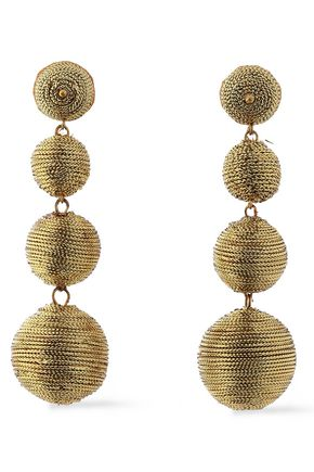 KENNETH JAY LANE Gold-plated Lurex earrings