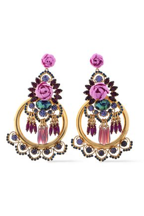 ELIZABETH COLE Floral-appliquéd gold-tone, Swarovski crystal and stone earrings