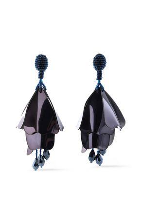 OSCAR DE LA RENTA Gold-tone, bead and resin clip earrings
