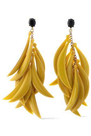 OSCAR DE LA RENTA Gold-tone, crystal and resin earrings