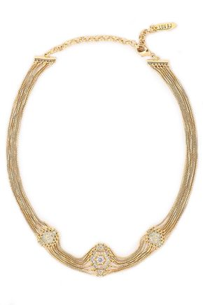 LUV AJ 14-karat gold-plated crystal choker