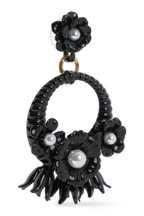 ELIZABETH COLE Enameled 24-karat gold-plated faux pearl earrings