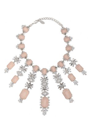 ELIZABETH COLE Silver-tone crystal necklace