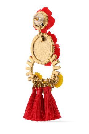 ELIZABETH COLE Embellished 24-karat gold-plated, Swarovski crystal and tassel earrings