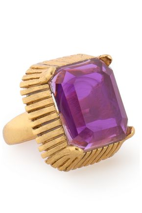 ELIZABETH COLE Wren 24-karat gold-plated crystal ring