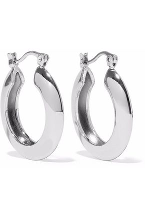 IRIS & INK Ameera 18-karat white gold-plated sterling silver hoop earrings