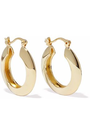 IRIS & INK Ameera 18-karat gold-plated sterling silver hoop earrings