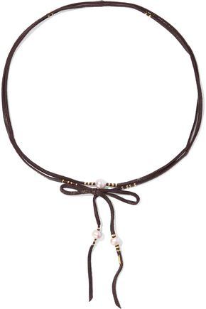 CHAN LUU Faux suede, faux pearl and bead choker