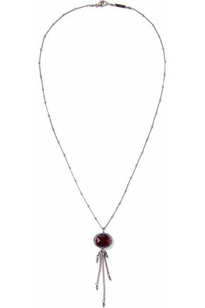 CHAN LUU Gunmetal-tone stone necklace
