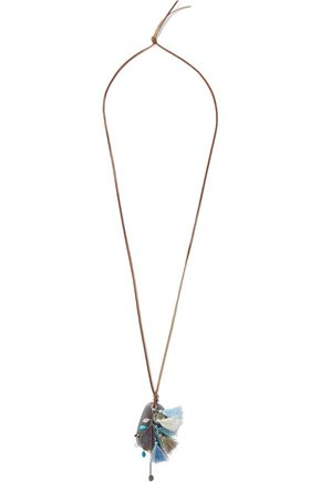 CHAN LUU Suede, stone, tassel and sterling silver necklace