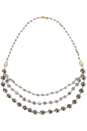 CHAN LUU 18-karat gold-plated sterling silver stone and bead necklace