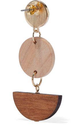 IRIS & INK Tamar 18-karat gold-plated sterling silver wood earrings
